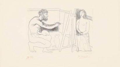 Pintor-enfrente-de-su-caballete-con-modelo-desnudo