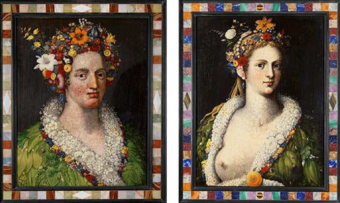 Giuseppe Arcimboldo 'Flora', 1589, y 'Flora meretrix', c 1590. Colección particular.