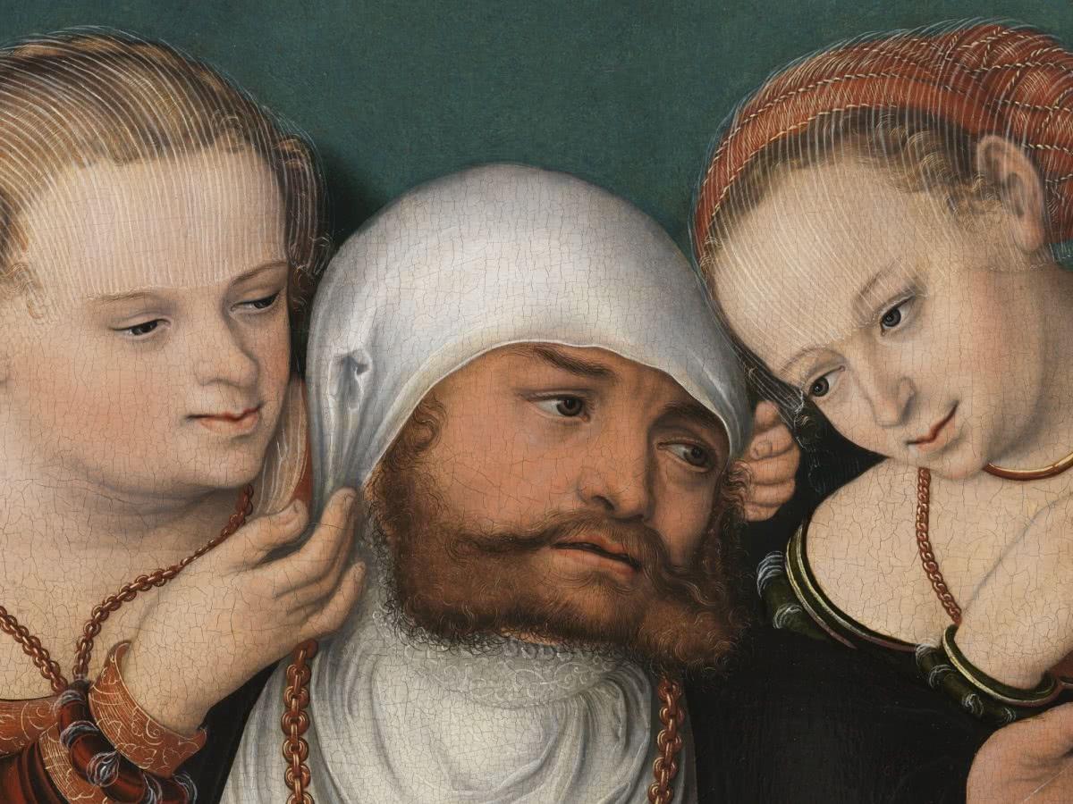 Hans Cranach. Detalle de Hércules en la corte de Onfalia (después de la restauración). 1537. Museo Thyssen-Bornemisza.