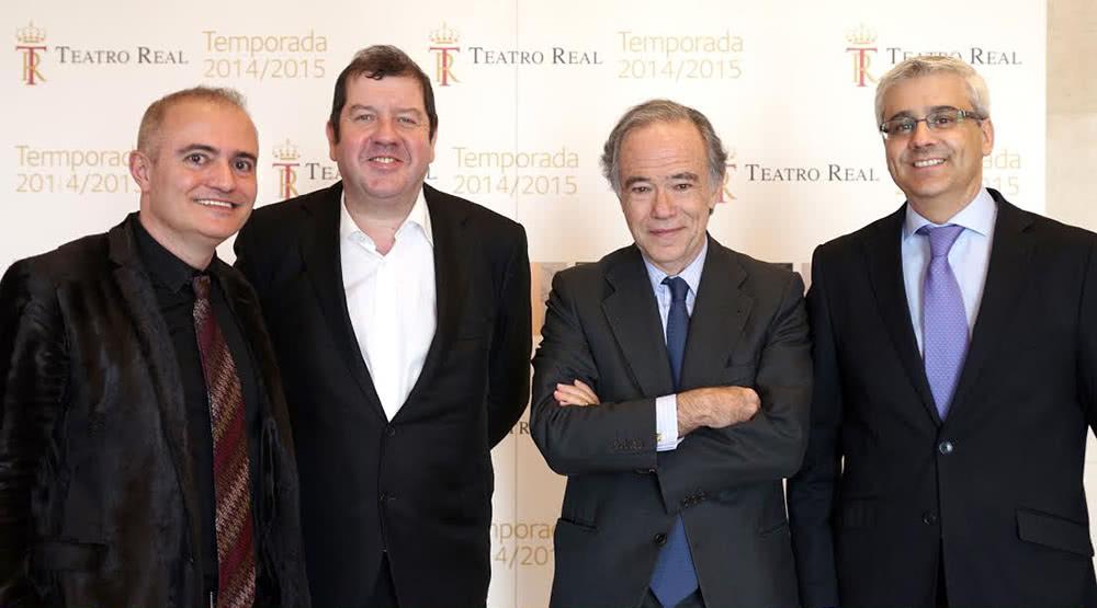 El director artístico del Teatro Real, Joan Matabosch; el nuevo director musical, Ivor Bolto; el presidente del Patronato, Gregorio Marañón; y el director general, Ignacio García-Belenguer (de izquierda a derecha) (Foto: Javier del Real).