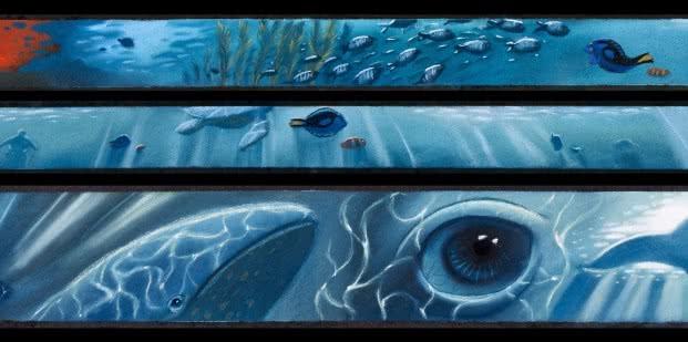 Ralph Eggleston, Versión inicial de colorscript o paleta de color (Buscando a Nemo, 2003), reproducción de dibujos al pastel. © DisneyPixar
