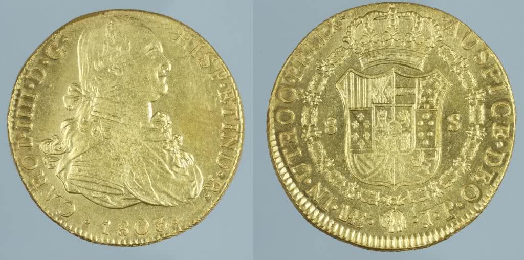 Moneda de 8 escudos de oro de Carlos IV, Lima 1803. Procedente del pecio de la Mercedes Museo Arqueológico Nacional, Madrid ©Miguel Ángel Camón Cisneros