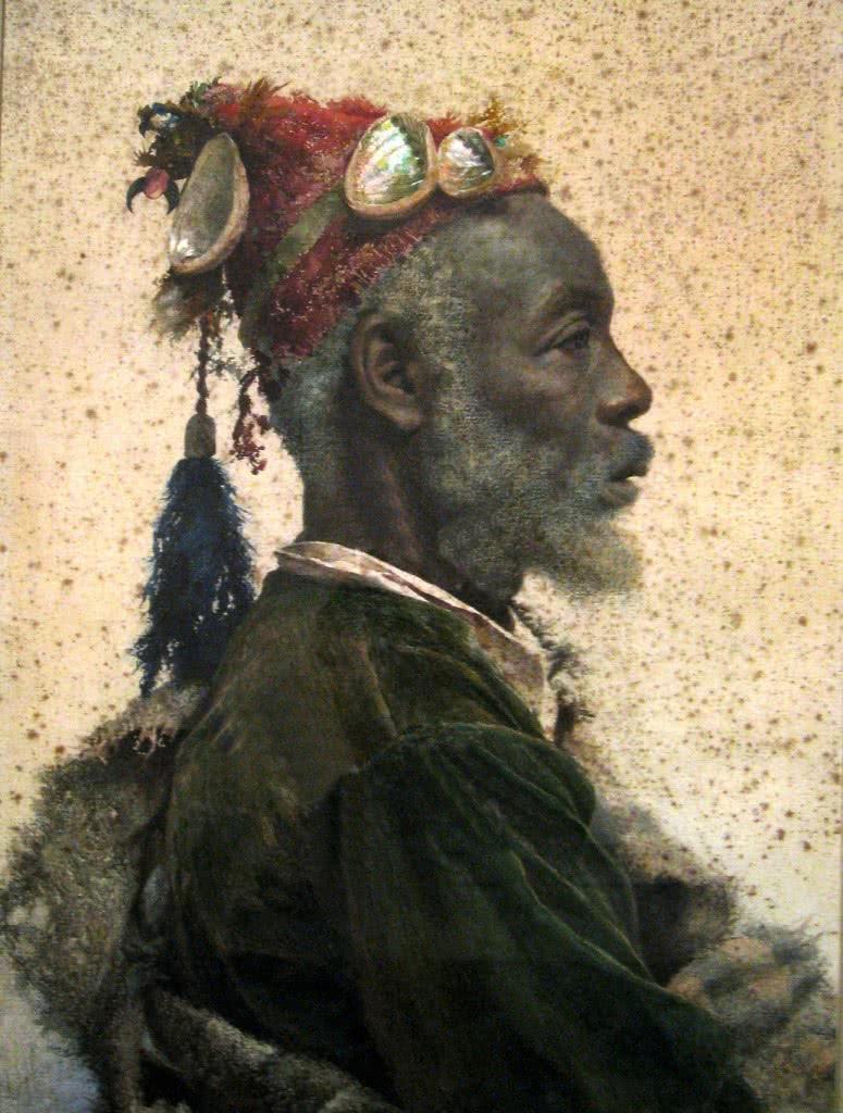 Josep Tapiró. El santón darkaguy de Marrakech, 1895. Acuarela sobre papel. Museo Nacional de Arte de Cataluña, Barcelona.