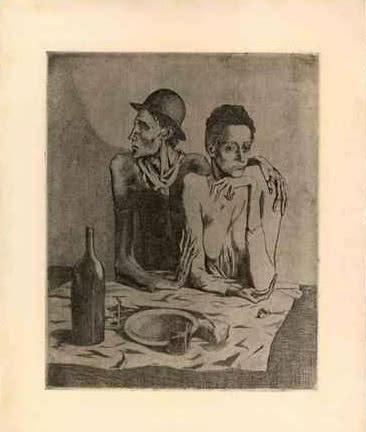 Pablo Picasso. La comida frugal. París, septiembre de 1904. Aguafuerte y raspador sobre zinc. Sucesión Pablo Picasso, Vegap, Madrid 2014