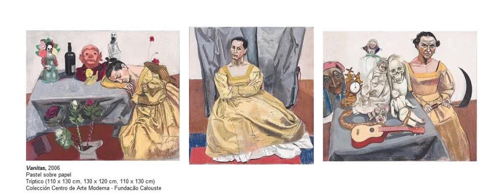 Paula Rego. Vanitas, 2006. Pastel sobre papel. Tríptico 110x130cm, 130x120cm, 110x130cm. Colección Centro de Arte Moderna. Fundaçao Calouste