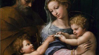 Sagrada Familia con San Juanito, o Virgen de la rosa. Rafael. Óleo sobre lienzo, 103 x 84 cm. h. 1517. Madrid, Museo Nacional del Prado.