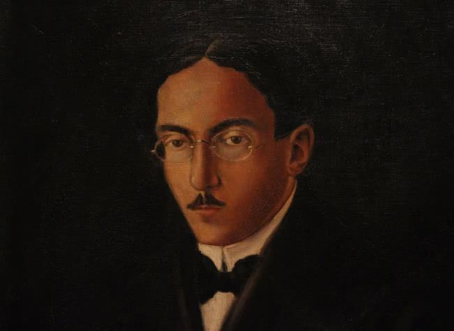 Retrato de Fernando Pessoa realizado por el pintor Rodriguez Castañé.