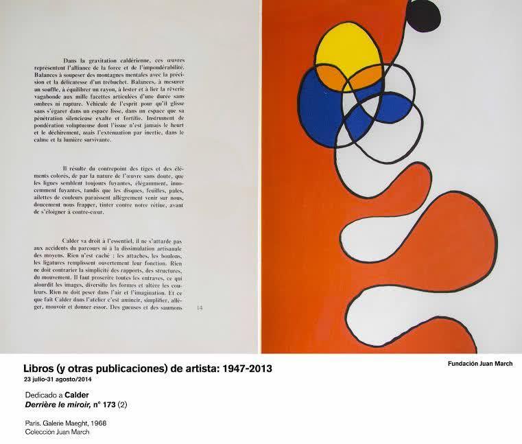 Dedicado a Calder. Derrière le miroir, n 173.  París. Galerie Maeght, 1968. Colección Juan March
