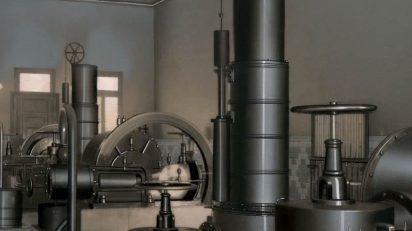 Ramón de Baños. Sala de máquinas con extractores que aspiran el gas de los refrigerantes y dan la presión necesaria para que circule por los aparatos y se llenen los gasómetros. Álbum de 1947. Archivo Histórico de la Fundación Gas Natural Fenosa.