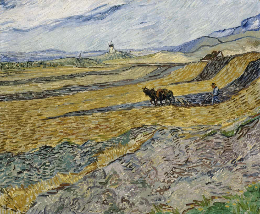Vincent van Gogh. Enclosed field with ploughman. 1889. Museum of Fine Arts, Boston.