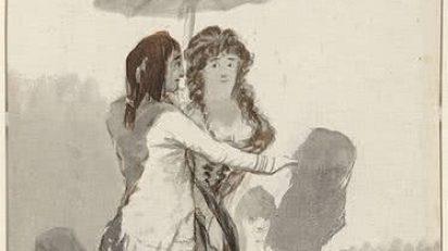 Pareja con sombrilla en el paseo (1795-97). Francisco de Goya. Hamburger Kunsthalle, Kupferstichkabinett. © Hamburger Kunsthalle/bpk. Photo by Christoph Irrgang.