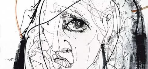 Pepe España. Dibujo a la pluma–acrílica sobre madera, 1972, 62 x 60 cm.