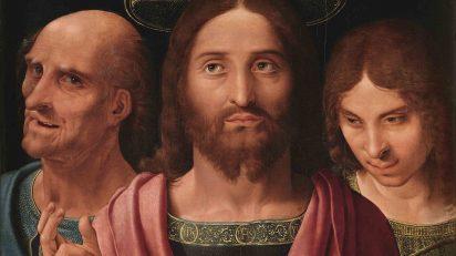 Fernando Yáñez de la Almedina. Salvator Mundi entre San Pedro y San Juan. Detalle.