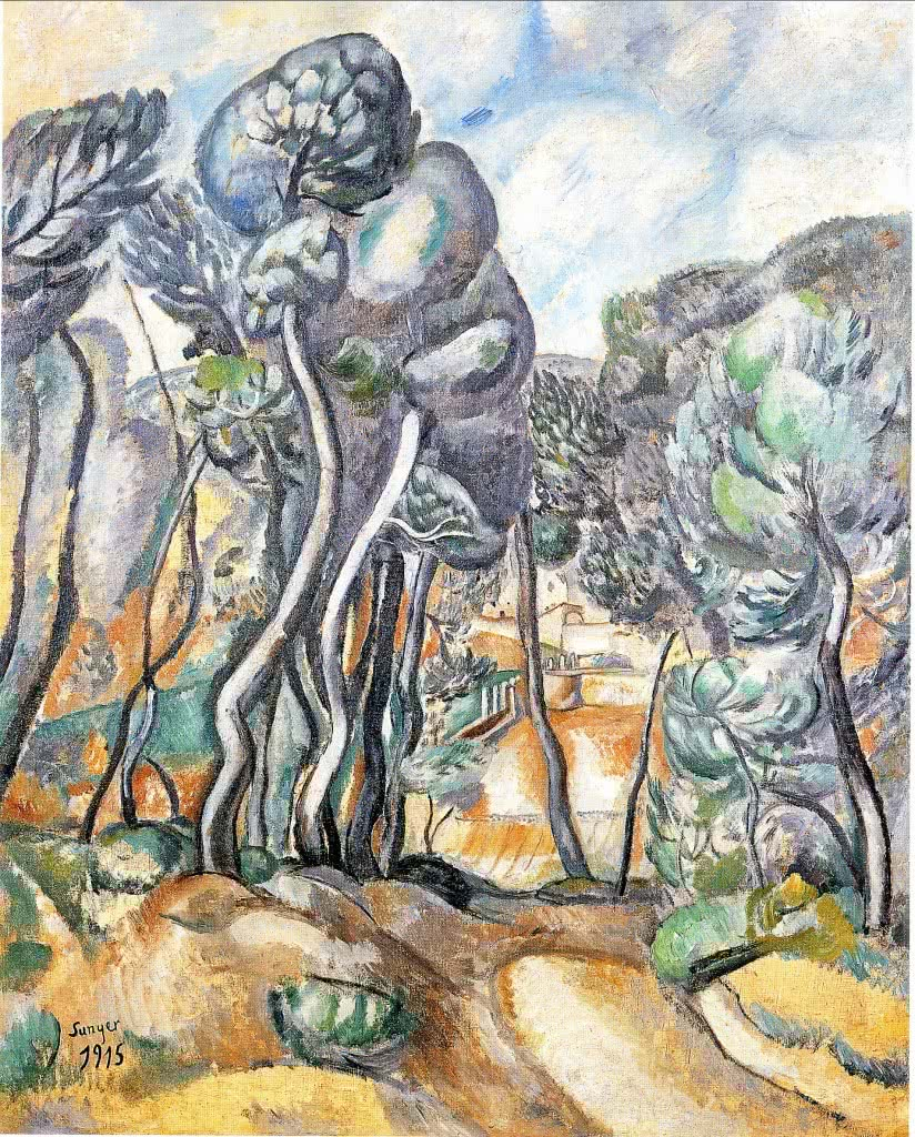 Paisatge amb pis, obra de Joaquim Sunyer, en la exposición Barcelona, zona neutral (1914-1918). Imagen cortesía de la Fundación Joan Miró.