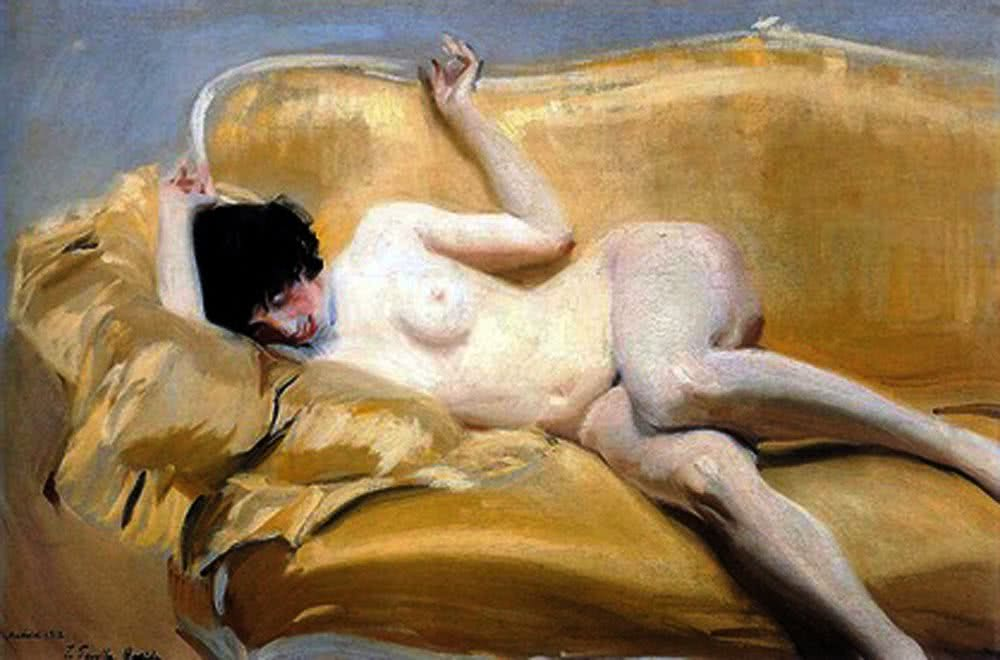 Joaquín Sorolla. Desnudo en el diván amarillo. 1912. Fundación AMYC-FRAN DAUREL.