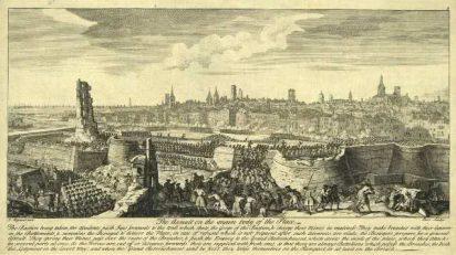 Asalto general del 11 de septiembre de 1714. Institut Cartogràfic de Catalunya. Autor: Jacques Rigaud (1680-1754) / Parr / Bowles.