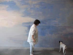Carmen Laffón. La artista en su estudio de La Jara. Sanlúcar de Barrameda. 2014.