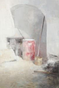 CARMEN LAFFÓN. La Cal. Bidon rojo. 2012. Carbón, témpera y óleo sobre madera. 218,5 x 147 cm.