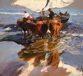 Joaquín Sorolla. 'Vuelta de la Pesca. Playa de Valencia'. (1908).
