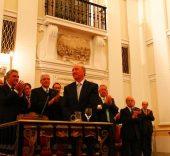 El presidente de la Fundación Santa María la Real, José María Pérez 'Peridis', durante el acto de entrega.