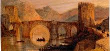 Vista del puente de San Martín (Toledo). Díptico con 42 Vistas Monumentales de Ciudades Españolas. Peréz Villaamil. Óleo sobre hojalata y marco neogótico, 178 x 182 cm. Madrid, Museo Nacional del Prado.