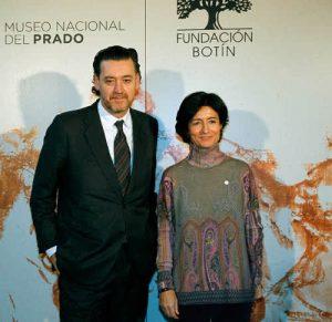 Paloma Botín, miembro de la Comisión Asesora de Artes Plásticas y vocal del Patronato de la Fundación Botín, y Miguel Zugaza, director del Museo del Prado.