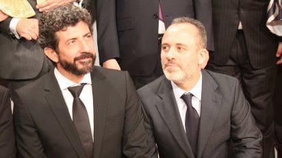 Alberto Rodríguez y Javier Gutiérrez, director y actor de 'La isla mínima', en los XX Premios Cinematográficos José María Forqué. Foto: Luis Martín.
