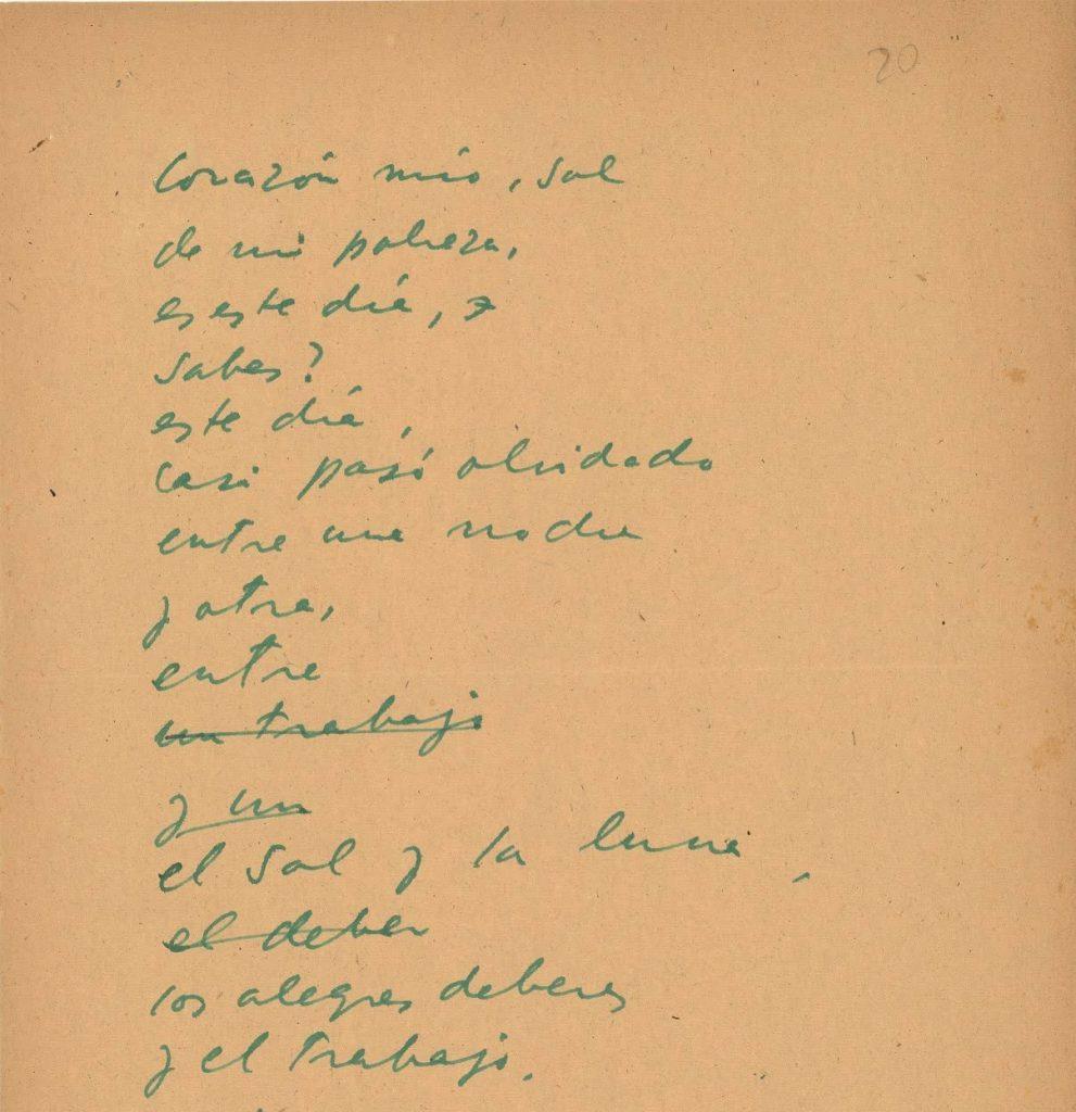 Fragmento poema inédito de Pablo Neruda