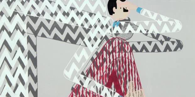 Conxita Herrero. Intervención en la cristalera de la Sala de Arte Joven. 2015. C.I.T.I.: Centro de Investigación Técnicamente Imprevisible. Foto: Luis Martín.