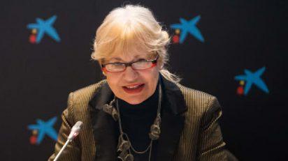 Eva Lootz durante el acto de presentación de su libro en CaixaForum Madrid.