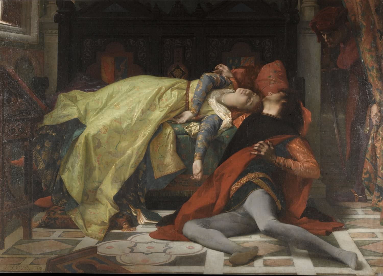 Alexandre Cabanel. La muerte de Francesca de Rímini y de Paolo Malatesta. 1870. © RMN-Grand Palais (musée d'Orsay) / Adrien Didierjean.
