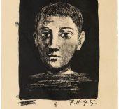 Picasso. Cabeza (autorretrato evocativo). París, 7 de noviembre de 1945. © Fundación Picasso. Museo Casa Natal, Ayuntamiento de Málaga. © Sucessión Pablo Picasso, VEGAP, Madrid, 2015.