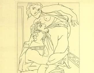 Gilbert Seldes, aguafuerte de Pablo Picasso (Cinesias y Mirrina) para Lysistrata de Aristophanes, 1934 (detalle).