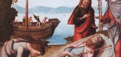 DESEMBARCO DO CORPO DE SANTIA GO APÓSTOLO. Maestro de Astorga, 1501-1525. Óleo sobre táboa. Fundación Lázaro Galdiano, Madrid.