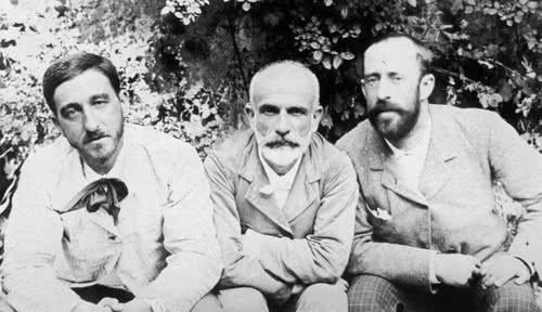 Manuel B. Cossío, Francisco Giner de los Ríos y Ricardo Rubio.
