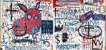 Jean-Michel Basquiat. El hombre de Nápoles (Man from Naples), 1982. Acrílico y collage sobre madera. 122 x 244,5 cm. Guggenheim Bilbao Museoa.