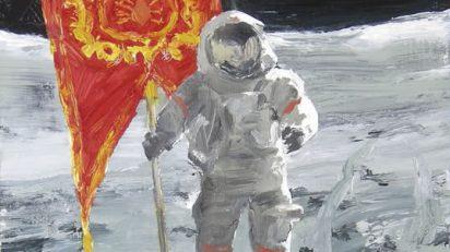'Astronauta'. Helí García. 30 x 30 cm. T. mixta sobre tabla. 2012.