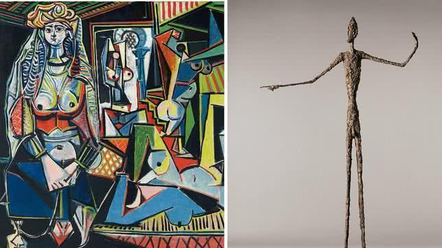 A la izquierda, 'Las mujeres de Alger (Versión O)', de Picasso. Detalle. A la derecha, 'El hombre que señala', de Giacometti. Detalle.