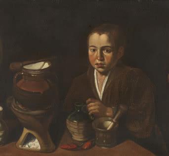 Pícaro de Cocina. Francisco López Caro (1598-1661). Óleo sobre lienzo, 58,5 x 98 cm. h.1620. Madrid, Museo Nacional del Prado. Donación Plácido Arango.
