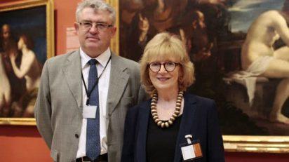 Miguel Falomir, director adjunto de Conservación e Investigación del Museo del Prado, y Elizabeth Crooper, directora de la Cátedra 2015. Foto © Museo Nacional del Prado.