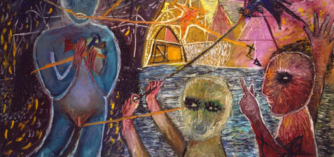 Antoni Tàpies, Composició amb figures (Composición con figuras), 1947.