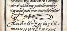 Letra cancelleresca de Juan de Icíar, 1550. Fuente: http://bibliotypes.blogspot.com.es/