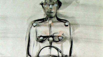 Eulàlia Valldosera. Estudio para estructura humana (serie El ombligo del mundo. Tintas #141). 1990.