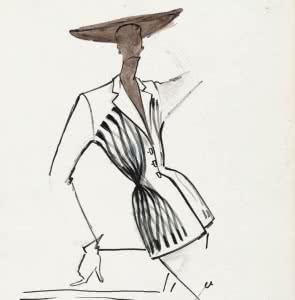"""Carven. Figurín de colección: traje de chaqueta """"Esperanto"""". Primavera-verano 1951. Tinta china, lápiz de grafito y acuarela sobre papel. Palais Galliera, París."""