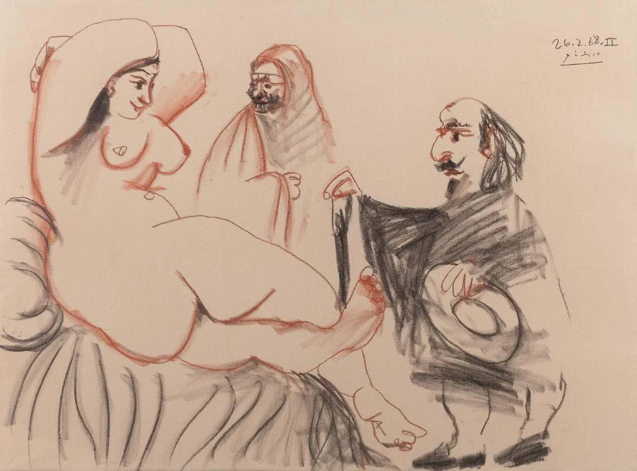 'Desnudo femenino con figuras'. Picasso. Cortesía de la Galería Guillermo de Osma.