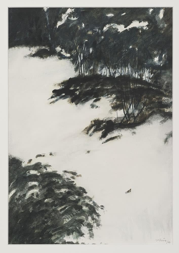 'Invierno', 2002. Juan Ariño. Acuarela y tinta china sobre papel, 35 x 24,5 cm.