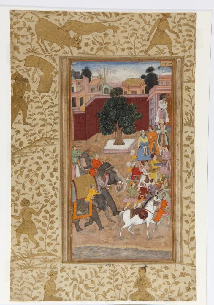 Abu-L Fazl. Procesión del emperador Akbar, hoja suelta del Akbar Namah. India del Norte, manuscrito, ca. 1600-1603.