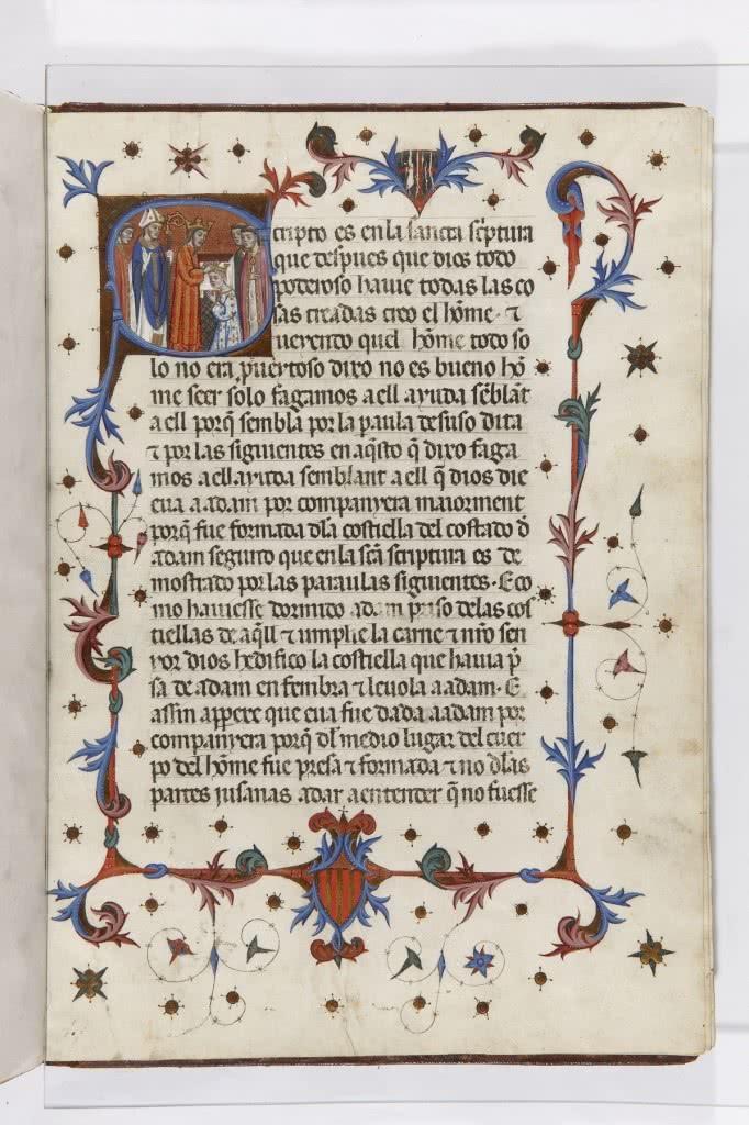Pedro IV el Ceremonioso. Ceremonial de consagración y coronación de los reyes y reinas de Aragón. Manuscrito, último cuarto del siglo XIV.