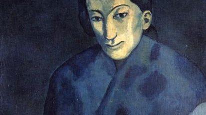 Pablo Picasso. Mujer con mantón azul. Barcelona, 1902. Óleo sobre tela. 60.3 x 52.4 cm. ID: F0198700001000. Aichi. Prefectural Museum of Art, Japón. © Sucesión Pablo Picasso, VEGAP, Madrid. 2015
