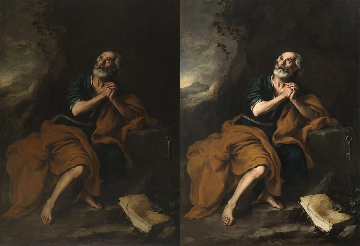A la izquierda, 'San Pedro penitente de los Venerables' antes de la restauración. A la derecha, la obra después de la restauración. Bartolomé Esteban Murillo. Óleo sobre lienzo, 155 x 210 cm h. 1675. Sevilla, Abengoa.